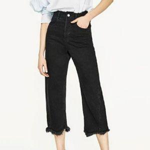 Zara Woman Raw Hem Distressed Wide Black Jeans